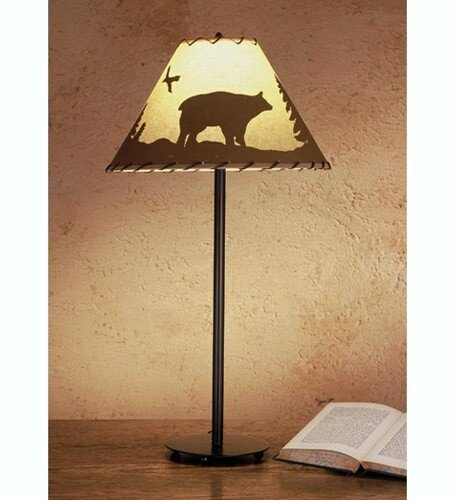 "picture of Meyda Lighting 48465 29""H Bear In The Woods Painted Table Lamp"