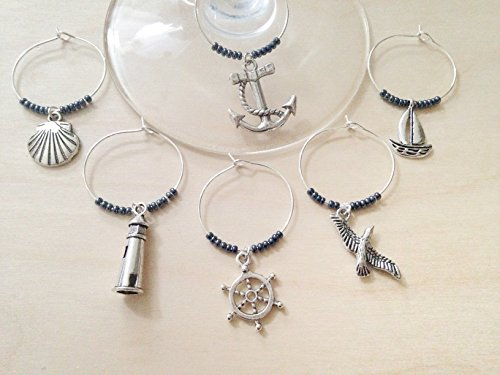 Nautical Charm Lighthouse - Nautical Themed Wine Charms, Ships Ahoy, Sailing gift for one who loves the Sea. Includes Anchor, Ship Wheel, Lighthouse, Sailboat etc. Stocking Stuffer for Beach lover. Set of 6. NAVY BEADS.