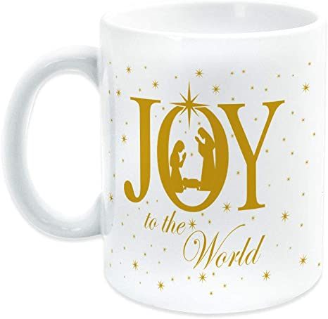 Amazon Com Christmas Ceramic Coffee Mug Joy To The World Nativity Scene Kitchen Dining