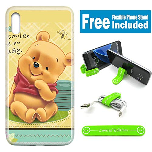 [Ashley Cases] Apple [iPhone Xs MAX] Cover Case Skin Flexible Phone Stand - Winnie The Pooh Baby Checker