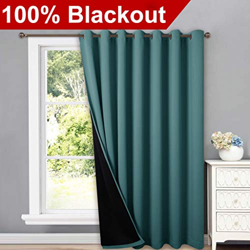 NICETOWN 100% Blackout Patio Sliding Door Curtain, Wide Lined Drape, Keep Warm Drapery, Sliding Glass Door Panel for Night Shift(Sea Teal, 1 Panel, 100 inches Wide x 84 inches Long