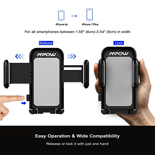 Mpow Car Phone Mount,CD Slot Car Phone Holder Universal Car Cradle Mount with Three-Side Grips and One-Touch Design for iPhone X/8/8Plus/7/7Plus/6s/6P/5S, Galaxy S5/S6/S7/S8, Google, LG, Huawei etc by Mpow (Image #3)