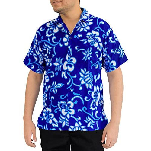 abe8b1ef3fd durable service La Leela Hawaiian Shirt For Men Short Sleeve Front-Pocket  Black Orange Blue