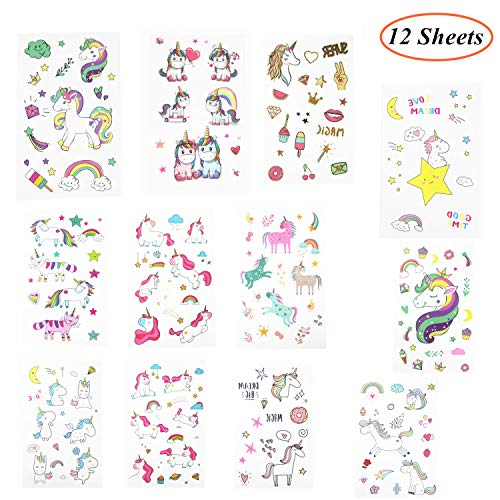 Holiday Tattoos - Oexper 12 Sheets of Unicorn Temporary Tattoos Cartoon Rainbow Ice Cream Tattoo Stickers for Girls Boys Kids Adults - Great for Birthday Party Unicorn Party Supplies Party Favors Stocking Stuffers Fun