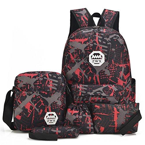 FTSUCQ Womens Rivet Mini Backpack Travel Daypack Tote bag Shoulder Handbags (Red)