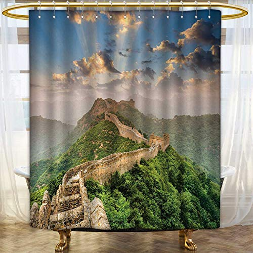 Gloria Johnson Great Wall of China,Curved Shower Curtain Rod,Oriental Medieval Blockade on High Lands Old Wonders The Past Picture,Curtain,Blue - Rod Blockade Curtain