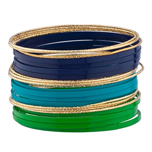Lux Accessories Blue Green Turquoise Goldtone Enamel Multi Bangle Bracelet Set (Bangle Set Enamel)