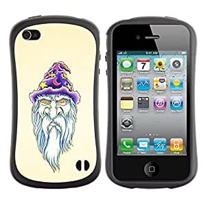 LASTONE PHONE CASE / Suave Silicona Caso Carcasa de Caucho Funda para Apple Iphone 4 / 4S / Beard Wizzard Witch Art Portraid White Old Man