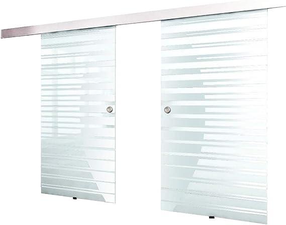 Home Deluxe Puerta doble corrediza de vidrio (2x100) inkl. Accesorios: Amazon.es: Hogar