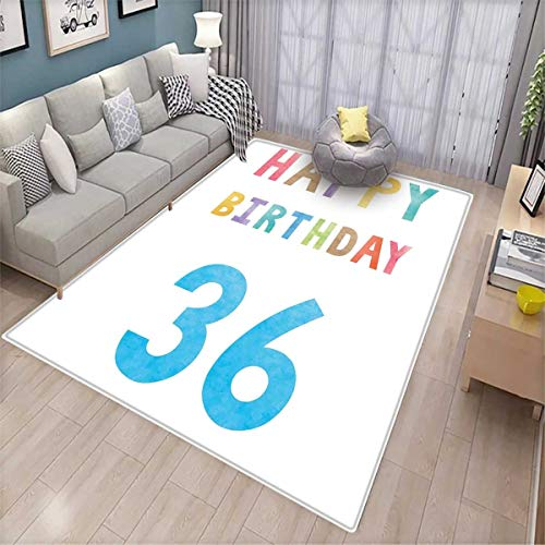 36th Birthday Room Home Bedroom Carpet Floor Mat Vintage Worn Old Print Middle Age Happy Birthday Party Image Artwork Print Floor Mat Pattern Multicolor