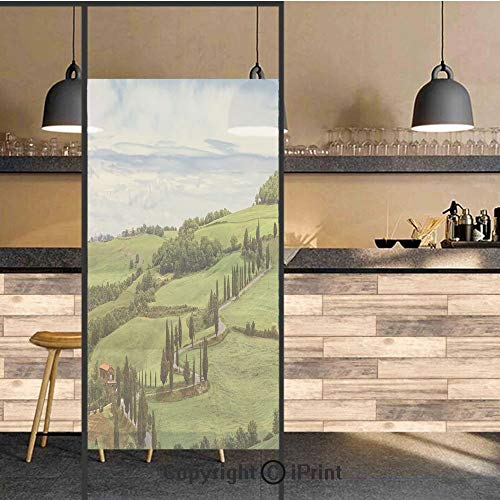 3D Decorative Privacy Window Films,Mediterranean Landscape Ancient House Trees Vineyard Agriculture,No-Glue Self Static Cling Glass Film for Home Bedroom Bathroom Kitchen Office 24x48 Inch