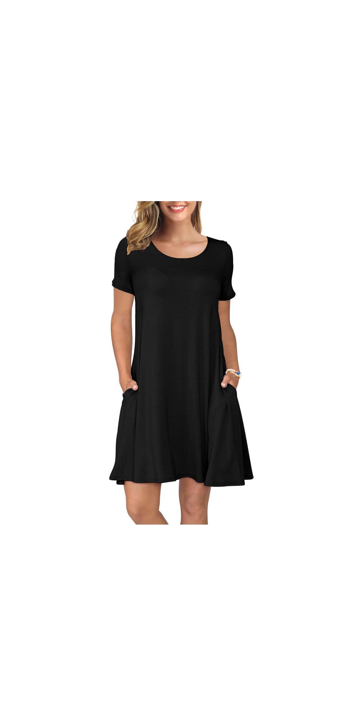 Women's Summer Casual T Shirt Dresses Short Sleeve Swing