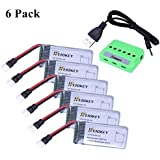 HEIOKEY 6pcs Upgrade 3.7V 520mAh 25C LiPO Battery with X6 Battery Charger for Hubsan X4 H107,H107C,H107L RC Quadcopter…
