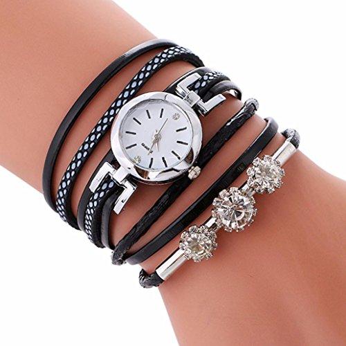 Watches,BCDshop Women Ladies Bracelet Diamond Crystal Circle Watch Fashion Wrap Wristwatch Xmas Gift (Black, alloy)