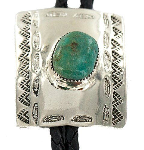 $280Tag Authentic Feather Mountain Navajo Leather Nickel Natural Turquoise Native American Bolo Tie