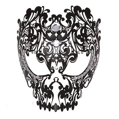 Rehoty Devil Full Face Skull Masquerade Mask Men Women Halloween Party Metal Venetian Masquerade Mask with Rhinestone(Black) -