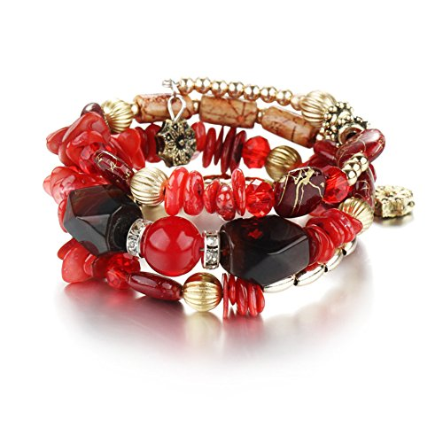 Indian Girl Costume Diy (Boho Multilayer Natural Healing Gemstone Crystal Beads Charms Wrap Bracelet for Women (Red))
