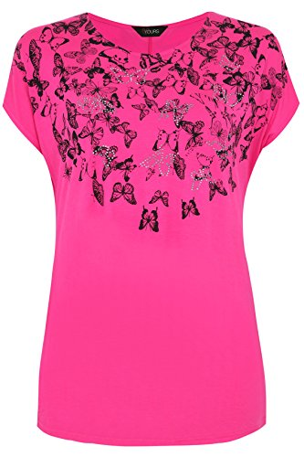 Yoursclothing Plus Size Womens Magenta Short Sleeve Butterfly Print Top Size 20-22 Pink