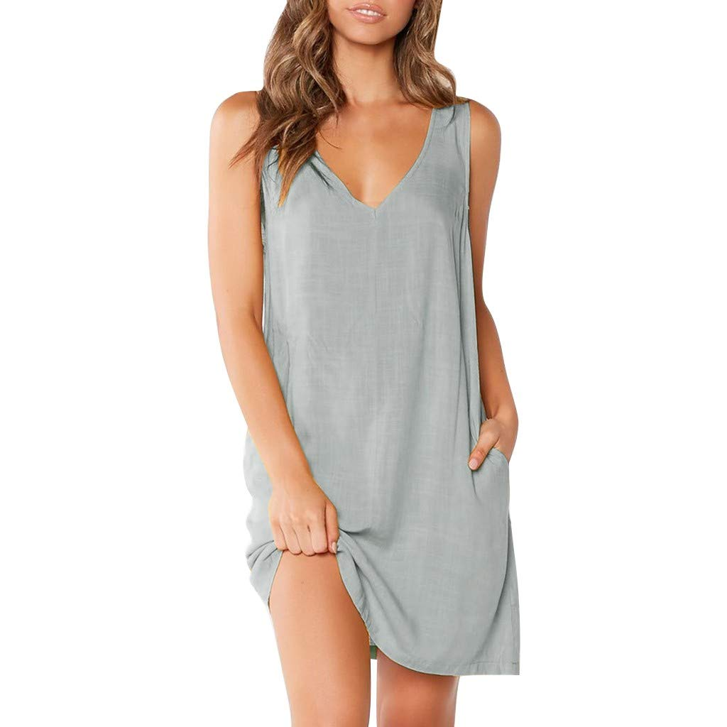 Tanlo 2019 Sexy Womens Fashion Sleeveless Solid Color Dresses, Casual V-Neck Pocket Loose Summer Beach Dress (4 Color&S-XL) (Gray, L)