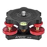 "Andoer LP-64 Tripod Leveling Base Tri-Wheel Precision Leveler with Bubble Level 3/8"" Screw Aluminum Alloy Max. 15kg/33Lbs"