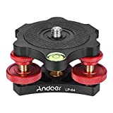 "Andoer LP-64 Tripod Leveling Base Tri-Wheel Precision Leveler with Bubble Level 3/8"" Screw"