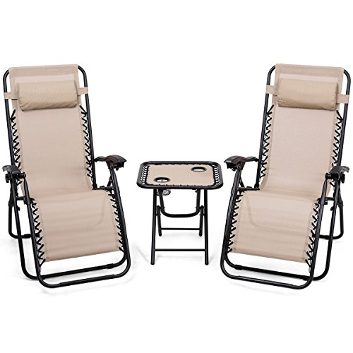 Giantex 3 PCS Zero Gravity Chair Patio Chaise Lounge Chairs Outdoor Yard Pool Recliner Folding Lounge Table Chair Set(Beige) - Folding Lounge Chair