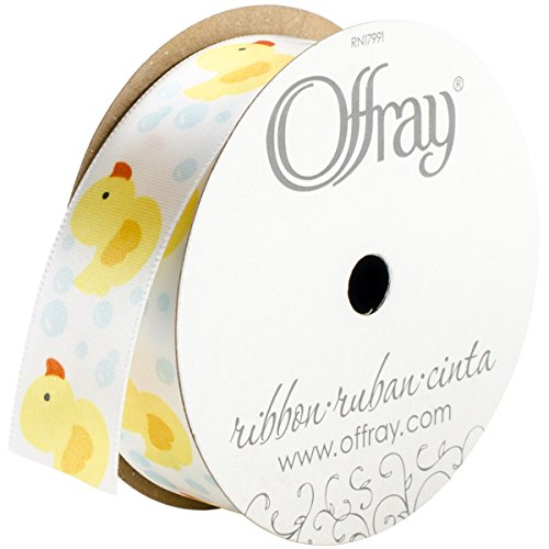 Offray 808335 Rubber Ducky Craft Ribbon, 7/8-Inch x 9-Feet, White -