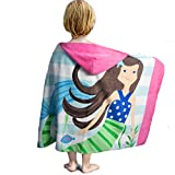 LALIFIT 100% Cotton Kids Hooded Poncho Swim Beach Bath Pool Towel for Girls/Boys(Brown Hair Mermaid)