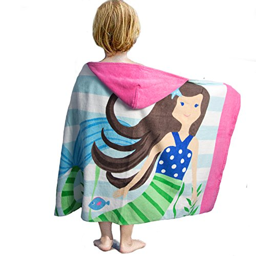 LALIFIT 100% Cotton Kids Hooded Poncho Swim Beach Bath Pool Towel for Girls/Boys(Brown Hair Mermaid) by LALIFIT