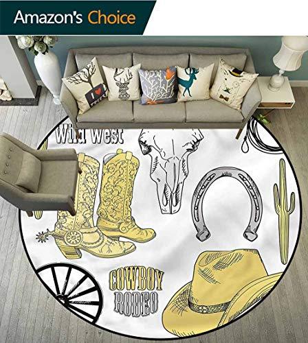 (Western Round Kids Rugs,Skull Lasso Hat Horseshoe Printed Round Carpet for Children Bedroom Play Tent Round-39)