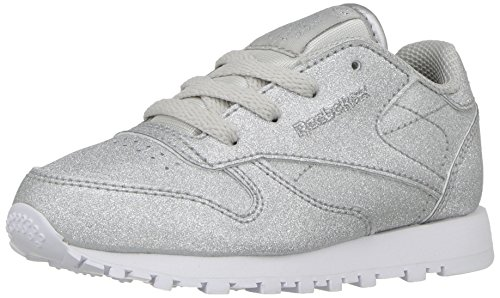 Reebok Kids' Classic Leather Syn Sneaker, Diamond/Silver Met/Snow Grey/White, 3 M US Little (Youth Silver Leather Footwear)