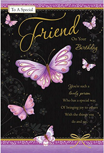 To A Special Friend Happy Birthday Butterfly Design Quality Card