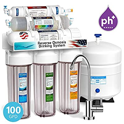 Express Water 10 Stage Home Drinking Water Filtration System Alkaline Mineral pH+ Reverse Osmosis 100 GPD RO Membrane Clear Housing Modern Chrome Faucet Residential Under Sink Purification ROALK10MC