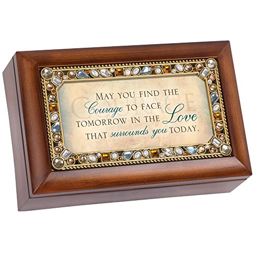 May You Find The Courage Jeweled Woodgrain Jewelry Music Box - Plays Tune Wind Beneath My Wings by Cottage Garden