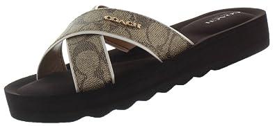 Womens Sandals COACH Janine Khaki/Chalk Sig Embossed PVC/Calf