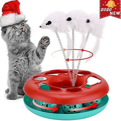Interactive Cat Toys Tracks Roller Catch Ball Pet Kitten Fun Toy with Teaser Mouse Exercise 2