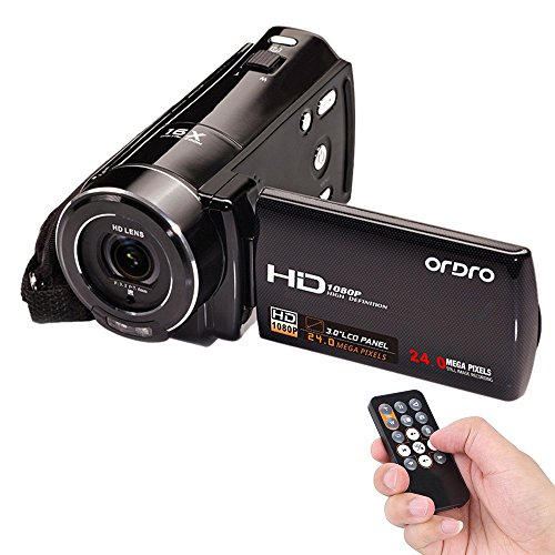 Andoer ORDRO 1080P Full HD Digital Video Camera Camcorder Max. 24 Mega Pixels 16× Digital Zoom with 3.0-in Rotatable LCD Screen Support Face Detection