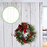 6 Pieces 15 Inch Christmas Metal Wreath Hooks White