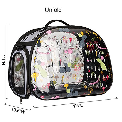Stylish-Folding-Pet-Carrier-Portable-Comfort-Soft-Travel-Bag-Transparency-Cartoon-Print-Tote-Bag-for-Dog-Cat-Small-Animal