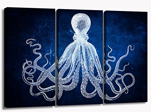 Modern Art Dark Blue Ocean Octopus Canvas Art Picture Printed Painting on Canvas Stretched and Framed For Home Retro Marine Life Hand Painted Sketch Background with White Octopus Wall Decor Art