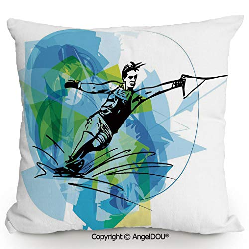 (AngelDOU Fashion Sofa Cotton Linen Throw Pillow Cushion,Man Athlete Water Ski Energic Dynamic Exotic Motivational Hobby Activity Image,Bed Office car Pillow Customized Accept.17.7x17.7 inches)