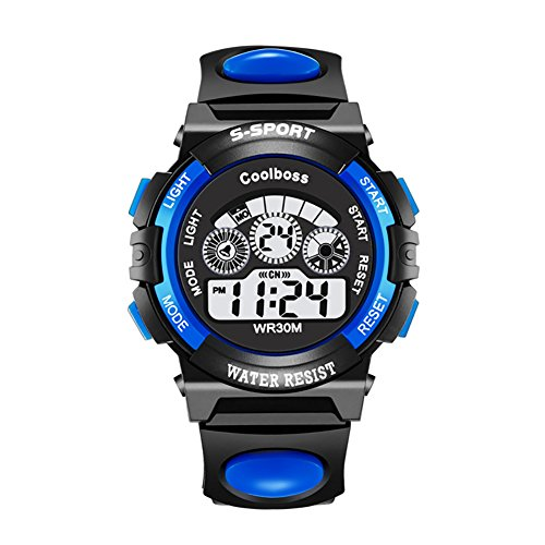 - Angels' Kids Sport Digital Watch,Boys Girls Outdoor 30M Waterproof Watch with Alarm Stopwatch Calendar Wrist Watches for Children (Small, Blue)