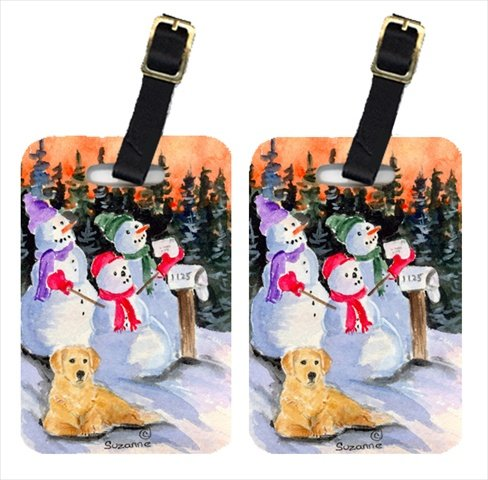 Carolines Treasures ss8989bt Snowman with Golden Retriever荷物タグ – ペア2 & # 44 ; 4 x 2.75 in。ペアの2 B00VF1AYRC