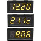 DROK® 0-200V Voltmetro Digitale Auto / Moto Clock Misura Temperatura Tensione Panel Meter 3in1 Il LED Giallo