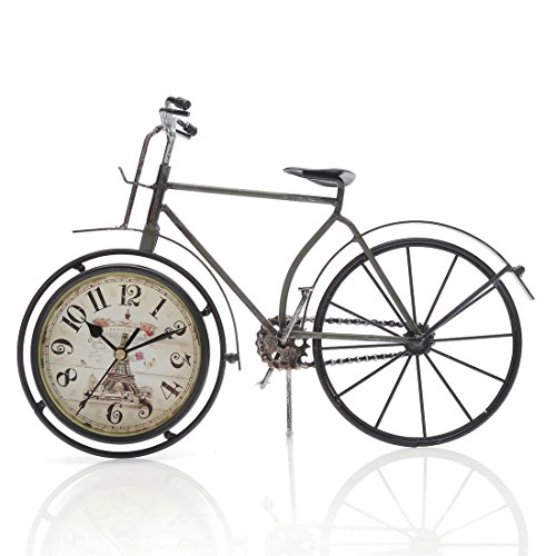 "14.4""x10"" Handcrafted Metal Bicycle Analog Silent Quartz Desk Clock,vintage Rustic Look,Glass on Front (Dark Green Bicycle)"