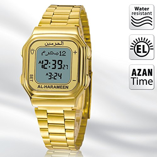 Azan Watch - EQ Waterproof Digital Quartz Calendar Fashion Wrist Watch with Arabic and English Automatic Compass for Muslims - Bookmark Arabic