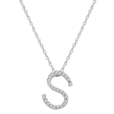 Amazon 14k white gold diamond s initial pendant 16 14k white gold diamond quotsquot initial pendant mozeypictures Image collections