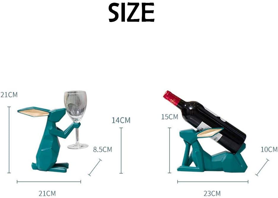 MiaoMiao Wine bottle holder and cup holder? 1 Wine Glass Holder and 1 Wine Bottle Holder, Sculpture Home Interior Decoration Gifts (C) B