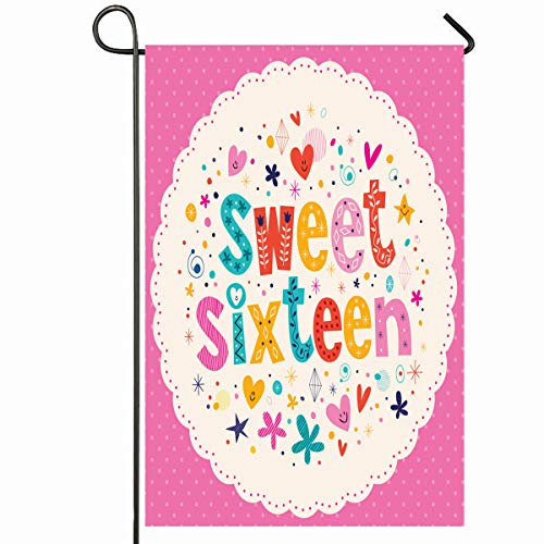 Ahawoso Outdoor Garden Flag 12x18 Inches Graphics Pink Birthday Sweet Sixteen Circle Flower 16Th 50S 60S Age Design Letters Seasonal Home Decorative House Yard Sign