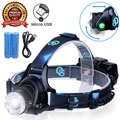 Rechargeable Headlamp, Hard Hat Light - Adults LED Headlamp Flashlight, Perfect Headlamps for Camping, Head Lamps for Adults, Head Flashlight, Lamparas Recargables. -
